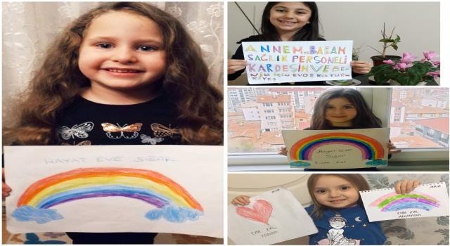 """Sağlık çalışanlarının çocuklarından resimlerle """"evde kal"""" çağrısı"""