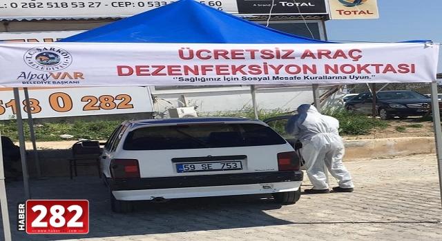 """Tekirdağ'da araçlar için """"Mobil Dezenfeksiyon İstasyonu"""" kuruldu"""