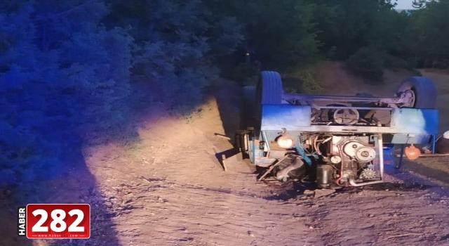 Tekirdağ'da devrilen tarım aracının sürücüsü öldü
