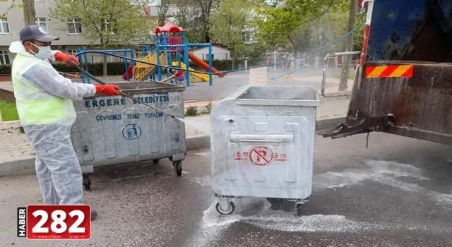 Ergene'de Çöp Konteynerlerinin Temizliği Devam Ediyor