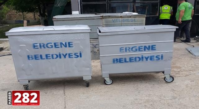 Ergene Belediyesi Çöp Konteynerlerinin Bakım ve Onarımını Yapıyor