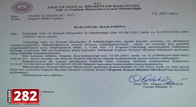 Aile ve Sosyal Hizmetler Bakanlığı'ndan Tekirdağ'a Müjde