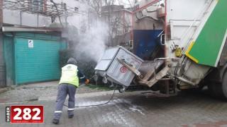 Ergene'de Çöp Konteynerleri Dezenfekte İşlemleri Aralıksız Sürüyor