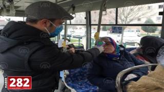 Genel Tekirdağ'da toplu taşıma araçlarındaki şoför ve vatandaşların ateşleri ölçülüyor