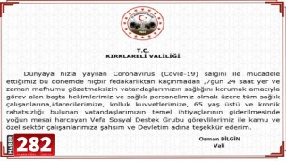 Kırklareli Valisi Osman Bilgin'in koronavirüs testinin pozitif çıktığı açıklandı