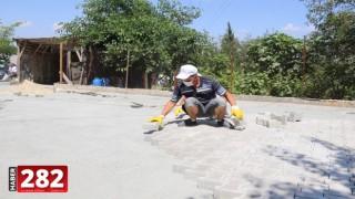 Ergene'de Kilit Parke Taş Çalışmaları Hız Kesmeden Devam Ediyor