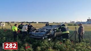 Tekirdağ'da devrilen otomobildeki 3 kişi yaralandı