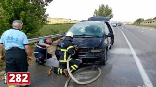Tekirdağ'da seyir halindeki araçta yangın