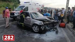 Tekirdağ'da üç aracın çarpıştığı kazada 4 kişi yaralandı