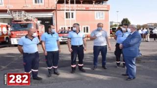 Başkan Kadir Albayrak'tan Kahraman İtfaiye Personeline Tebrik ve Geçmiş Olsun Ziyareti