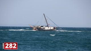 Tekirdağ'da yan yatan yattaki 2 kişi sahil güvenlik ekiplerince kurtarıldı